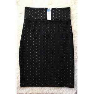Pencil Skirt with Silver Dots